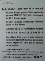 LA C.G.T. DEFEND AUSSI VOTRE SECURITE SOCIALE - Format : 40  X 30 Cm - Affiches