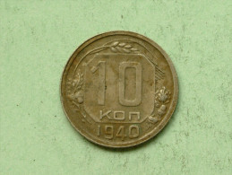 10 Kopeks - 1940 / Y# 109 ( Uncleaned - For Grade, Please See Photo ) ! - Russie