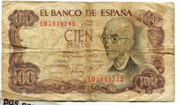 - Billet EL BANCO DE ESPANA - CIEN PESETAS, 1970, Usagé,  Scans. - [ 3] 1936-1975 : Regency Of Franco