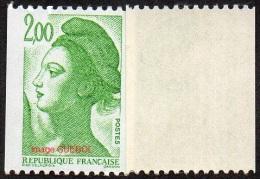 France Roulette N° 2487 B ** Liberté De Gandon - Variété Le 2.00 Frs Vert Gomme Brillante Jaunâtre - Rollen