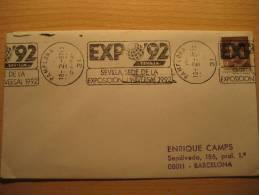 PAMPLONA NAVARRA 1987 Expo 92 Sevilla Colon America Rodillo Matasellos Especial Cancel Sobre Cover Lettre - 1931-Oggi: 2. Rep. - ... Juan Carlos I