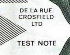 """Test Note """"De La Rue CROSFIELD"""", W/o Units, Beids. Druck, RRRRR, Lightly Used, Dollar-Format - Groot-Brittannië"""