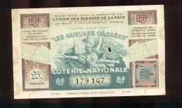 Billet De La Loterie Nationale De 1941  -  Les Gueules Cassées   -  25 ème  Tranche  -  Sans Talon - Billets De Loterie