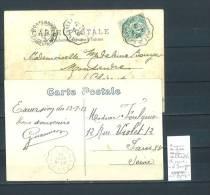 Lettre Cachet Convoyeur Marennes à Saujon - à Saint Porchaire - 2 Piéces - Postmark Collection (Covers)