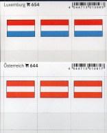 2x3 In Farbe Flaggen-Sticker Luxemb+Österreich 4€ Kennzeichnung Alben Karten Sammlung LINDNER 654+644 Luxembourg Austria - Klasseerkaarten