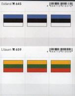 2x3 In Farbe Flaggen-Sticker Estland+Litauen 4€ Kennzeichnung Alben Karten Sammlung LINDNER 645+659 Flag Eesti LITHUANIA - Klasseerkaarten