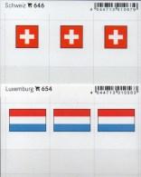 2x3 In Farbe Flaggen-Sticker Schweiz+Luxemburg 4€ Kennzeichnung Alben Karte Sammlung LINDNER 646+654 Luxembourg HELVETIA - Klasseerkaarten