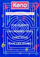 TRIPTYQUE KENO CARTONNE GLACE NEUF 01/1996 PLV PUBLICITE FDJ FRANCAISE DES JEUX GRATTAGE LOTO ASTRO BANCO BINGO - Pubblicitari