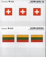 2x3 In Farbe Flaggen-Sticker Schweiz+Litauen 4€ Kennzeichnung Alben Karten Sammlungen LINDNER 646+659 LITHUANIA HELVETIA - Klasseerkaarten