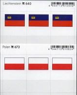 2x3 In Farbe Flaggen-Sticker Liechtenstein+Polen 4€ Kennzeichnung Alben Karten Sammlung LINDNER 640+673 FL Polska - Klasseerkaarten
