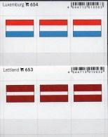 2x3 In Farbe Flaggen-Sticker Luxemburg+Lettand 4€ Kennzeichnung Alben Karte Sammlungen LINDNER 654+653 Luxembourg LATVIA - Klasseerkaarten