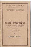 Carte D'Electeur /république Française/ Ministére De L'Intérieur/Département De Maine Et Loire/saint Sauveur/1946  VP637 - Unclassified