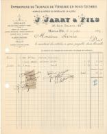 Facture Marseille 1907 Vitrerie J JARRY Rue Sainte - France