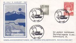 Greenland Sonderstempel 1967 Cover Brief Greenland Expedition Scouts Pfadfinder Rover Explorer K. Rasmussen Nordlicht - Groenlandia