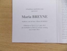 Doodsprentje Maria Breyne Ternat 1/7/1917 Wervik 23/5/2011 ( Albert Durnez ) - Religion & Esotérisme