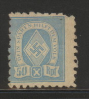 GERMANY 3RD (THIRD) REICH 50 RPF LIGHT BLUE HITLER YOUTH REVENUE USED Swastika WORLD WAR 2 WW2 - Oblitérés