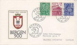 Norway Ersttags Brief FDC Cover 1970 Stadt Bergen 900 Jahre Complete Set - FDC