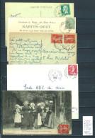 Lettre Cachet Convoyeur  Morlaix à Saint Brieuc - à Roscoff- à Plougasnou Et Retour -5 Piéces - Postmark Collection (Covers)