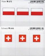 2x3 In Farbe Flaggen-Sticker Polen+Schweiz 4€ Kennzeichnung Alben Karten Sammlungen LINDNER 673+646 Flag Poland HELVETIA - Klasseerkaarten