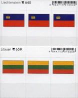 2x3 In Farbe Flaggen-Sticker Liechtenstein+ Litauen 4€ Kennzeichnung Alben Karten Sammlung LINDNER 640+659 FL LITHUANIA - Klasseerkaarten