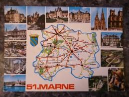 CARTE GEOGRAPHIQUE (51)  MULTIVUES ET CARTE DU DEPARTEMENT DE LA MARNE. ANNEE 1978 - Landkarten