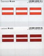 2x3 In Farbe Flaggen-Sticker Österreich+Lettland 4€ Kennzeichnung Alben Karten Sammlungen LINDNER 644+653 Austria LATVIA - Klasseerkaarten