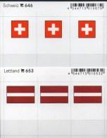 2x3 In Farbe Flaggen-Sticker Lettland+Schweiz 4€ Kennzeichnung Alben Karte Sammlung LINDNER 646+653 Flag LATVIA Helvetia - Klasseerkaarten