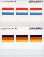 2x3 In Farbe Flaggen-Sticker Luxemburg+BRD 4€ Kennzeichnung Alben Karte Sammlung LINDNER 630+654 Flag Luxembourg Germany - Klasseerkaarten