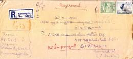 Srilanka 1959 Registered Cover From Kurunegala To Sivaganga, India But Retour To Kilapungudi, Comment Of Postman On Back - Sri Lanka (Ceylon) (1948-...)
