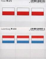 2x3 In Farbe Flaggen-Sticker Luxemburg+ Polen 4€ Kennzeichnung Alben Karten Sammlungen LINDNER 673+654 Luxembourg Polska - Klasseerkaarten