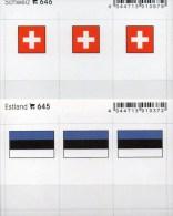 2x3 In Farbe Flaggen-Sticker Estland+Schweiz 4€ Kennzeichnung Alben Karten Sammlung LINDNER 645+646 Flags Helvetia EESTI - Klasseerkaarten