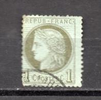 FRANCE N° 50 (o) (YT) 1c. CERES VERT OLIVE  DECENTRE  PHOTOS R/V - 1871-1875 Ceres