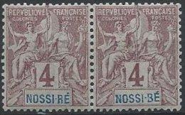 NOSSI-BE -  4 C. Groupe Neuf - R Au Lieu De B Dans NOSSI-BE En Paire Avec Nom De Pays Oblique - Nossi-Bé (1889-1901)