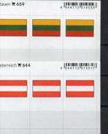 2x3 In Farbe Flaggen-Sticker Litauen+Österreich 4€ Kennzeichnung Alben Karten Sammlung LINDNER 659+644 LITHUANIA Austria - Klasseerkaarten