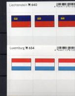 2x3 In Farbe Flaggen-Sticker Luxemburg+FL 4€ Kennzeichnung Alben Karte Sammlung LINDNER 640+654 Liechtenstein Luxembourg - Klasseerkaarten