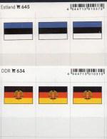 2x3 In Farbe Flaggen-Sticker Estland+DDR 4€ Kennzeichnung Von Alben Karten Sammlungen LINDNER 645+634 Flag Eesti Germany - Klasseerkaarten
