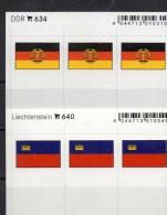 2x3 In Farbe Flaggen-Sticker Liechtenstein+DDR 4€ Kennzeichnung Von Alben Karte Sammlung LINDNER 640+634 Flag FL Germany - Klasseerkaarten