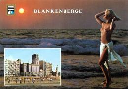 Grüsse Aus BLANKENBERGE, Blonde Junge Frau Oben Ohne Am Strand, Nackte Brüste - Gruss Aus.../ Grüsse Aus...