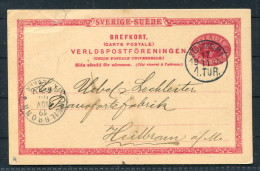 1904 Sweden Postal Stationery Stockholm - Heilbronn Germany / Lindbergs Piano Dealer - Music