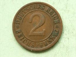 1924 G - 2 Reichspfennig / KM 38 ( Uncleaned Coin - For Grade, Please See Photo ) !! - 2 Rentenpfennig & 2 Reichspfennig