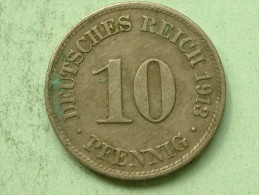 1913 D - 10 Pfennig / KM 12 ( Uncleaned Coin - For Grade, Please See Photo ) !! - [ 2] 1871-1918: Deutsches Kaiserreich
