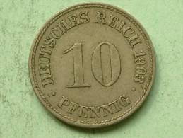 1903 D - 10 Pfennig / KM 12 ( Uncleaned Coin - For Grade, Please See Photo ) !! - [ 2] 1871-1918: Deutsches Kaiserreich