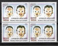 INDIA, 2011, The Smile Train, Cleft Surgery,  Block Of 4, MNH, (**) - Inde