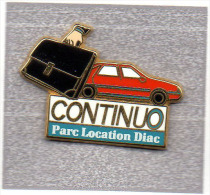 Pin´s  ARTHUS  BERTRAND, Automobile  Renault  Rouge, CONTINUO  Parc  Location  Diac - Arthus Bertrand