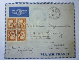 Lettre Du TONKIN  à Destination De  TARBES  (Hautes-Pyrénées)   1940  (nombreux Cachets) - Non Classificati