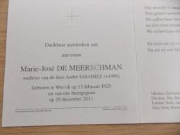 Doodsprentje Marie José De Meerschman Wervik 13/2/1925 - 29/12/2011 ( André Salomez ) - Religión & Esoterismo