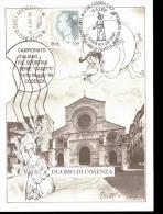 SOLLEVAMENTO PESI IL PESISTA DI PIAZZA CRISPI COSENZA ANNULLO CAMPIONATO DI FILATELIA SPORTIVA - Pesistica