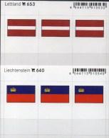 2x3 In Farbe Flaggen-Sticker Lettland+Liechtenstein 4€ Kennzeichnung Von Alben Karten Sammlung LINDNER 653+640 Latvia FL - Klasseerkaarten