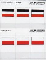 2x3 In Farbe Flaggen-Sticker Polen+3.Reich 4€ Kennzeichnung Von Alben Karten Sammlung LINDNER 628+673 Polska Old Germany - Autre Matériel