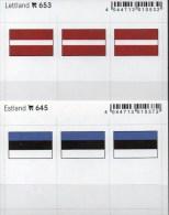 2x3 In Farbe Flaggen-Sticker Estland+Lettland 4€ Kennzeichnung Alben Karten Sammlung LINDNER 653+645 Flag Eesti LATVIA - Klasseerkaarten